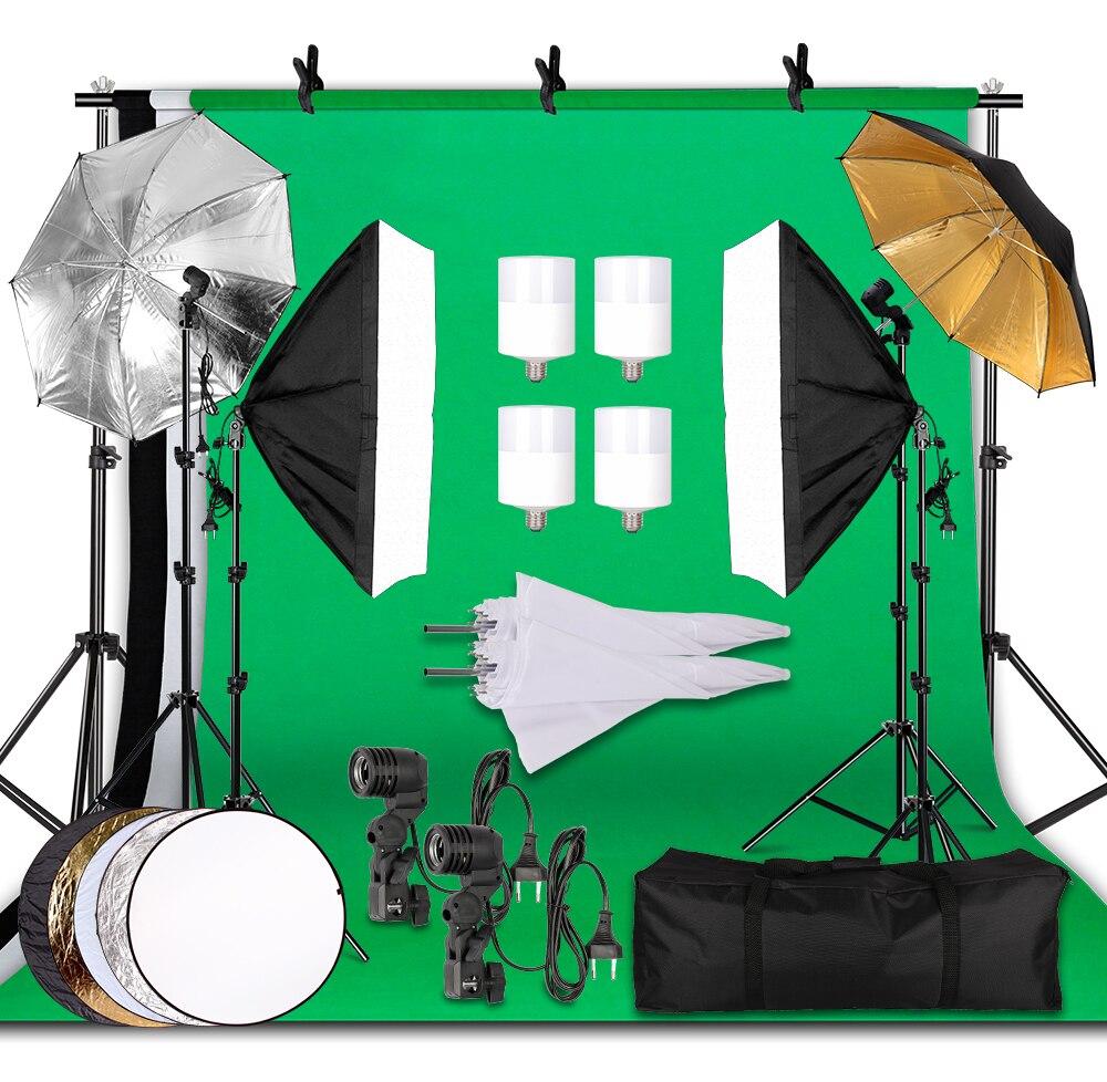 Photography Lighting Kit 2.6x3M Photo Background Muslin Backdrops & Softbox & Umbrella & Reflector& Light Stand For Photo Studio